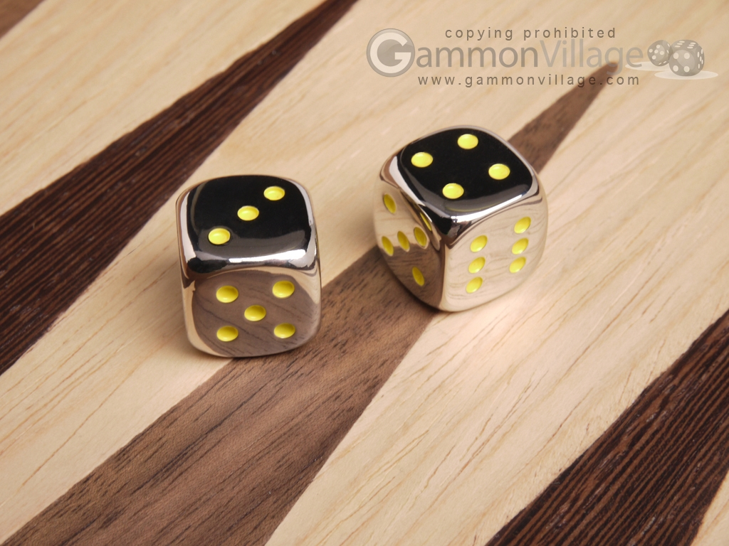 5/8 in. Zinc Alloy Metal Dice - Yellow (1 pair)