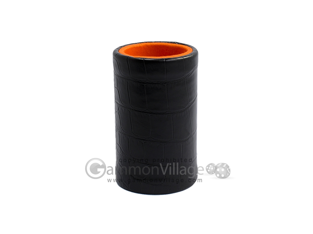 Black Leatherette Backgammon Dice Cup - Orange Interior with Trip Lip