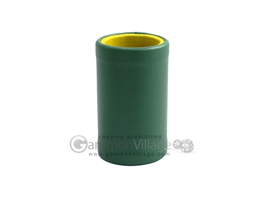 Green Leatherette Backgammon Dice Cup - Mustard Interior with Trip Lip
