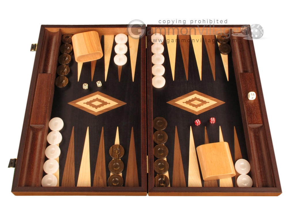 Olive Root Backgammon Set - Large - Black Field