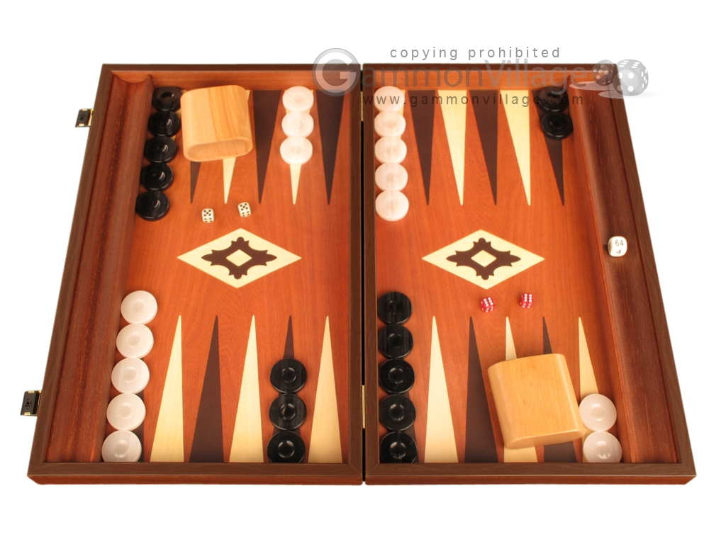 19-inch Wood Backgammon Set - Mahogany with Printed Field and Side Racks