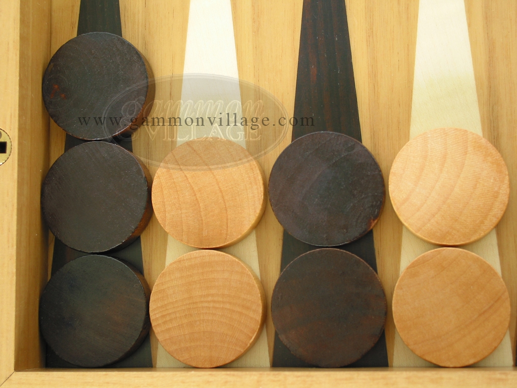 Backgammon Checkers - Wood - Flat (1 1/8in Dia.) - Set of 30