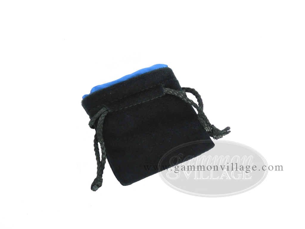 Black Velvet Dice Bag With Blue Satin Lining - (3 1/4 in. x 4 in.)