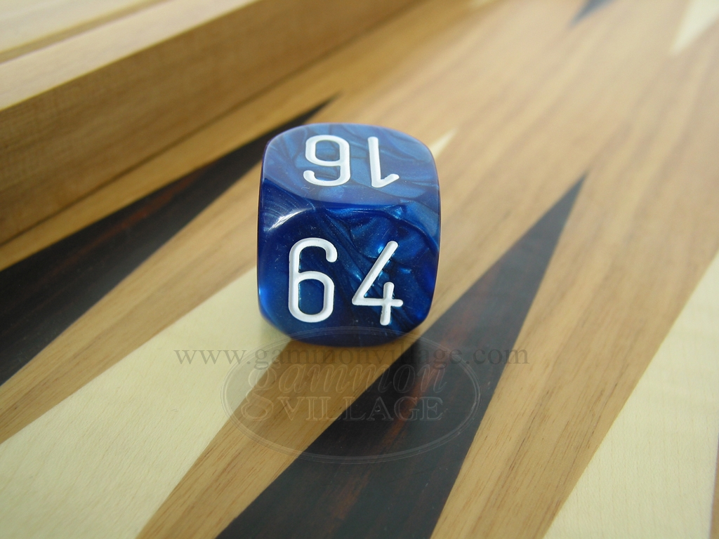 1 3/16 in. Backgammon Doubling Cube - Blue Marbleized