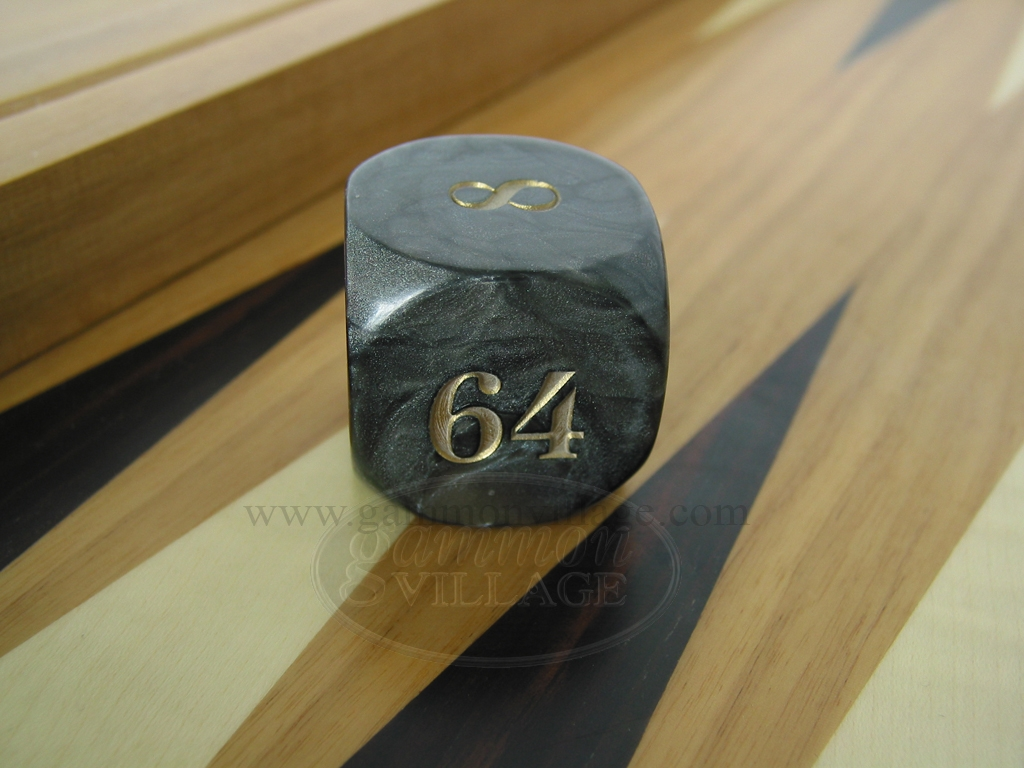 1 3/8 in. Backgammon Doubling Cube - Black Marbleized
