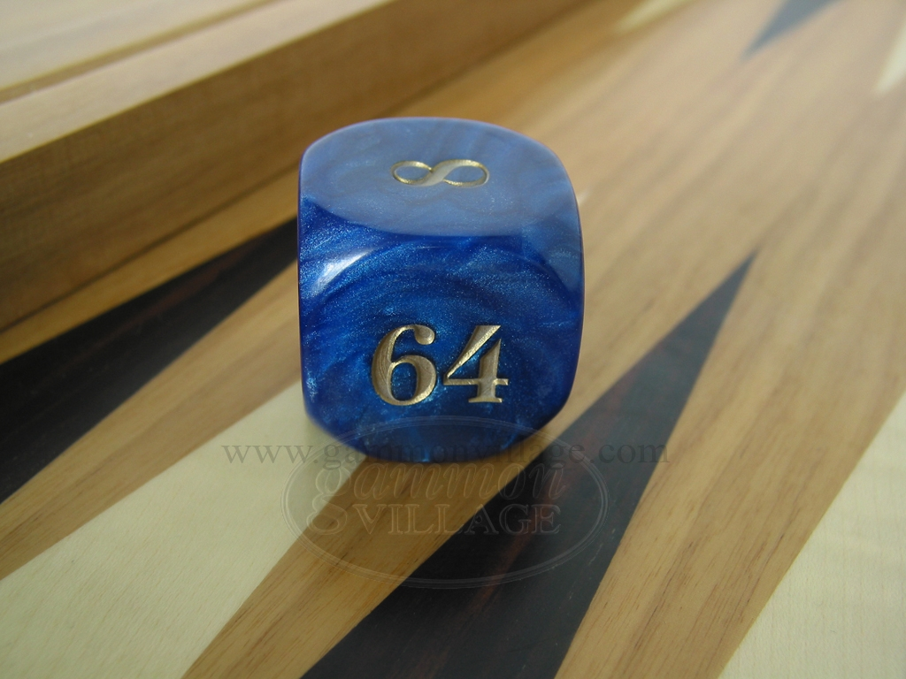 1 3/8 in. Backgammon Doubling Cube - Blue Marbleized