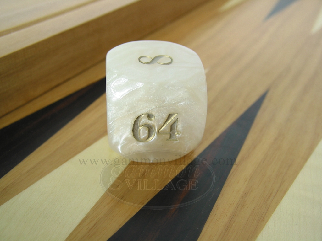 1 3/8 in. Backgammon Doubling Cube - White Marbleized