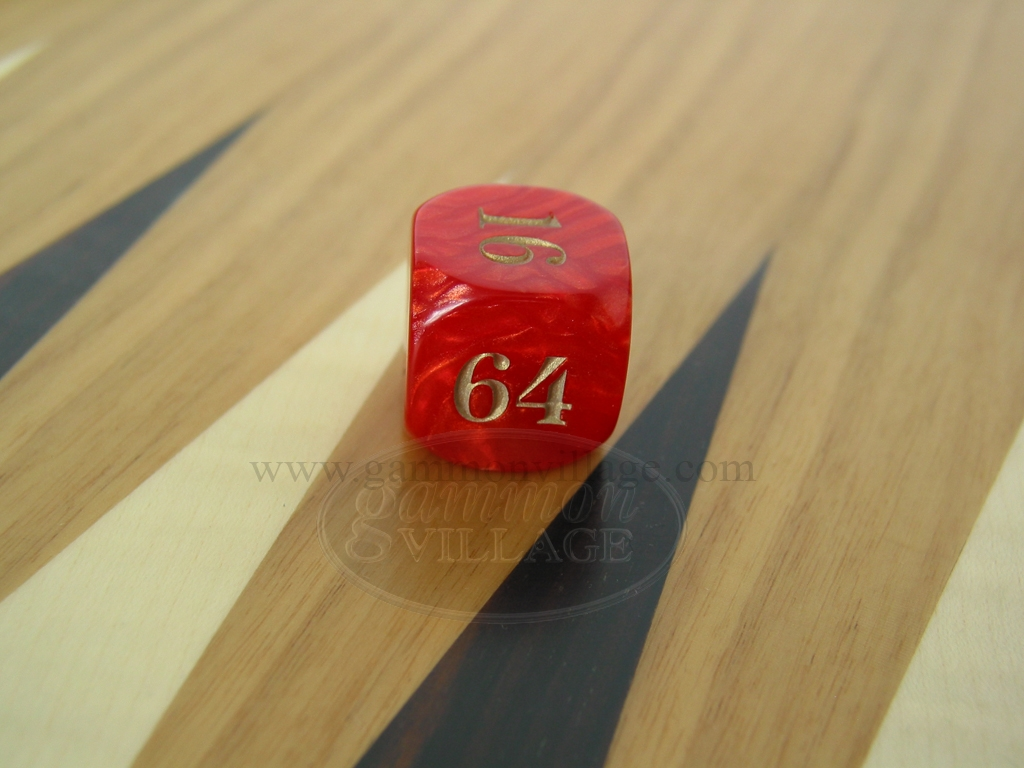 7/8 in. Backgammon Doubling Cube - Red Marbleized