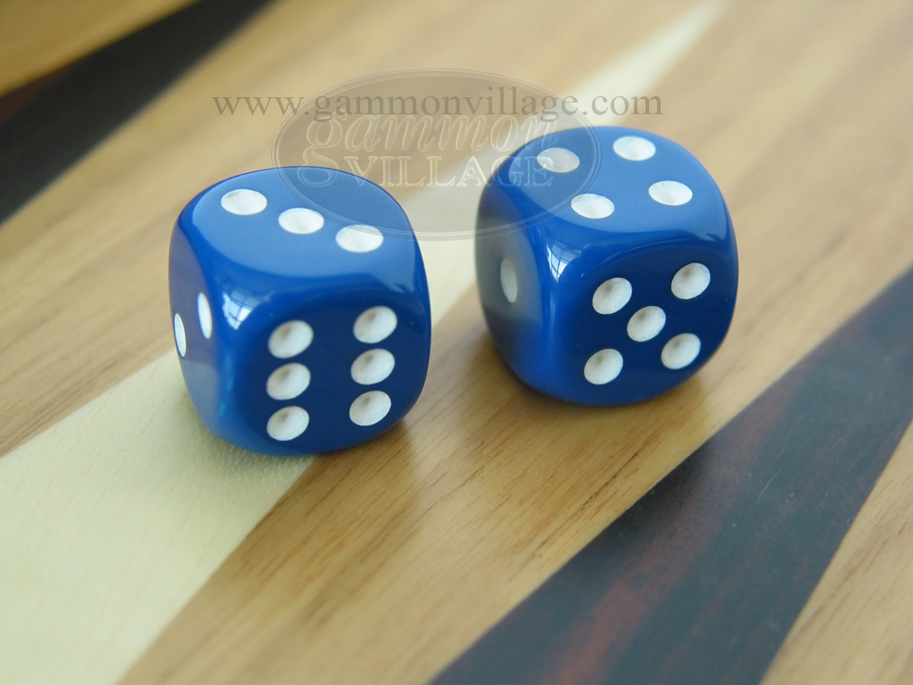 1/2 in. Rounded High Gloss Solid Dice - Blue (1 pair)