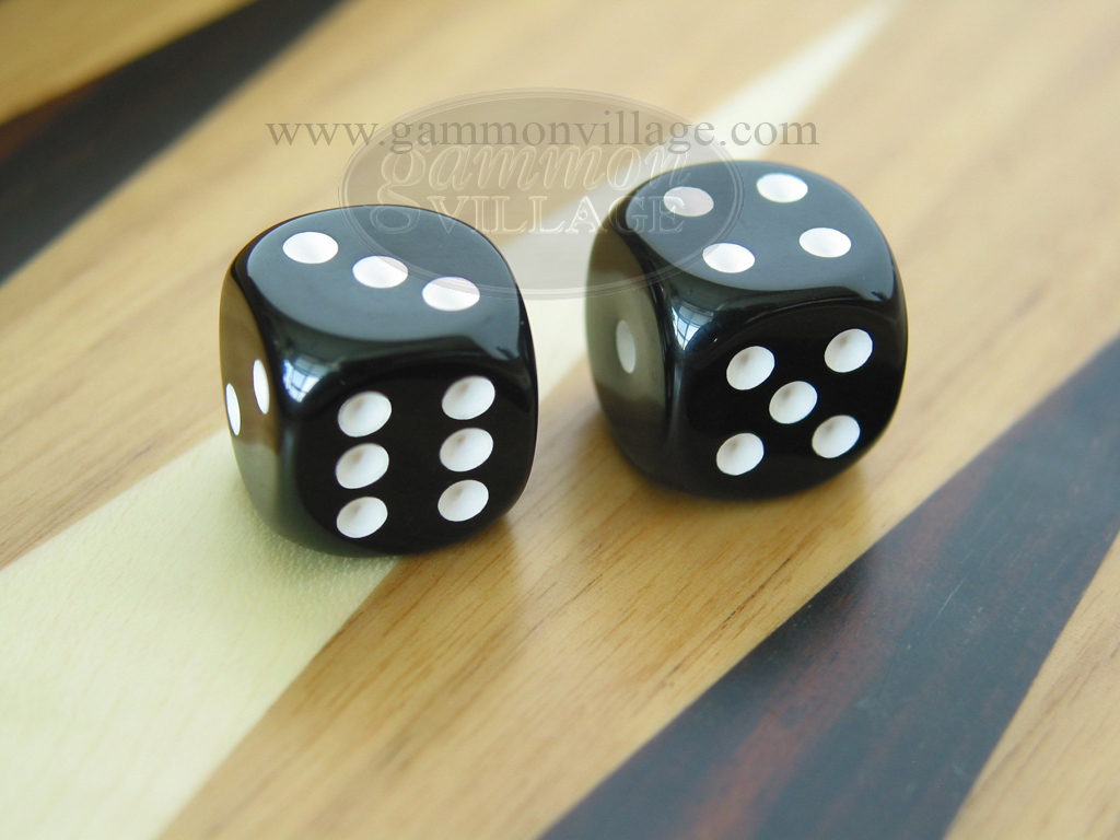 1/2 in. Rounded High Gloss Solid Dice - Black (1 pair)