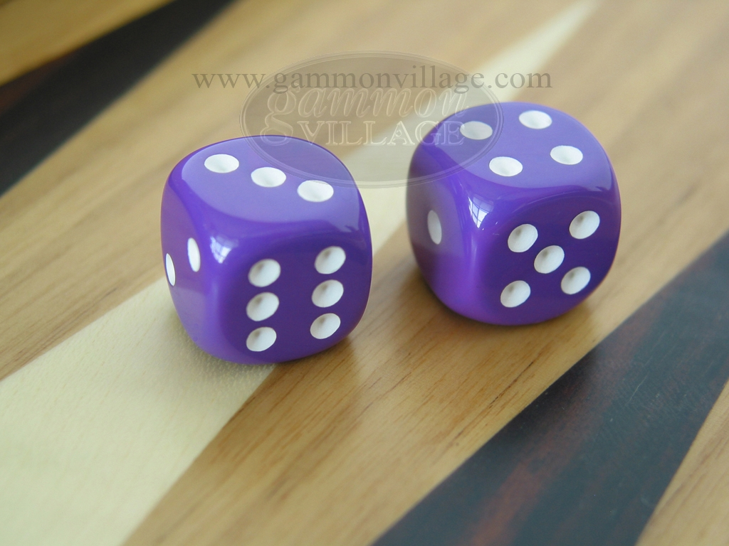 1/2 in. Rounded High Gloss Solid Dice - Purple (1 pair)