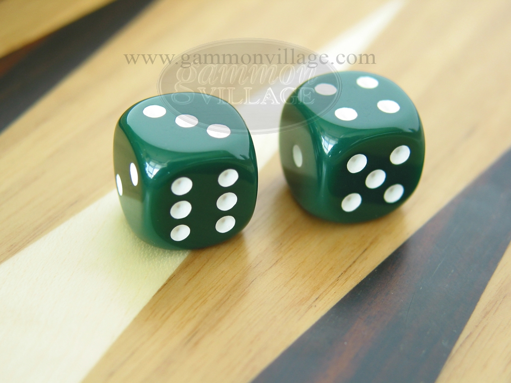3/8 in. Rounded High Gloss Solid Dice - Green (1 pair)