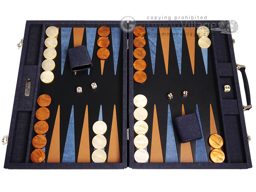 Hector Saxe Denim Backgammon Set - Dark Blue