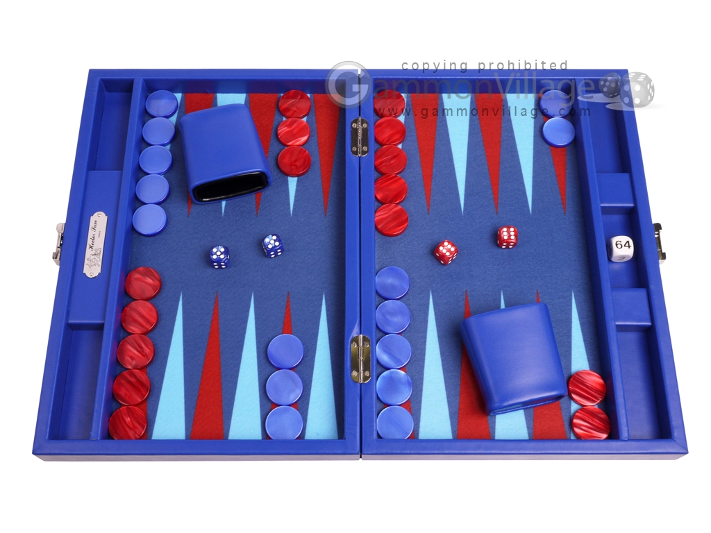 Hector Saxe Leatherette Travel Backgammon Set - Pacific Blue