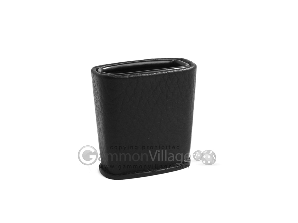 Leather Backgammon Dice Cup - Oval - Black
