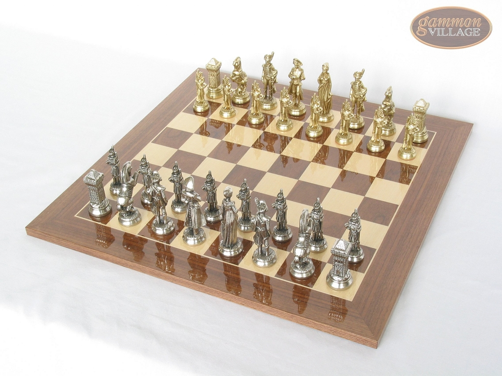 French Heritage Chessmen with Spanish Lacquered Chess Board [Wood]
