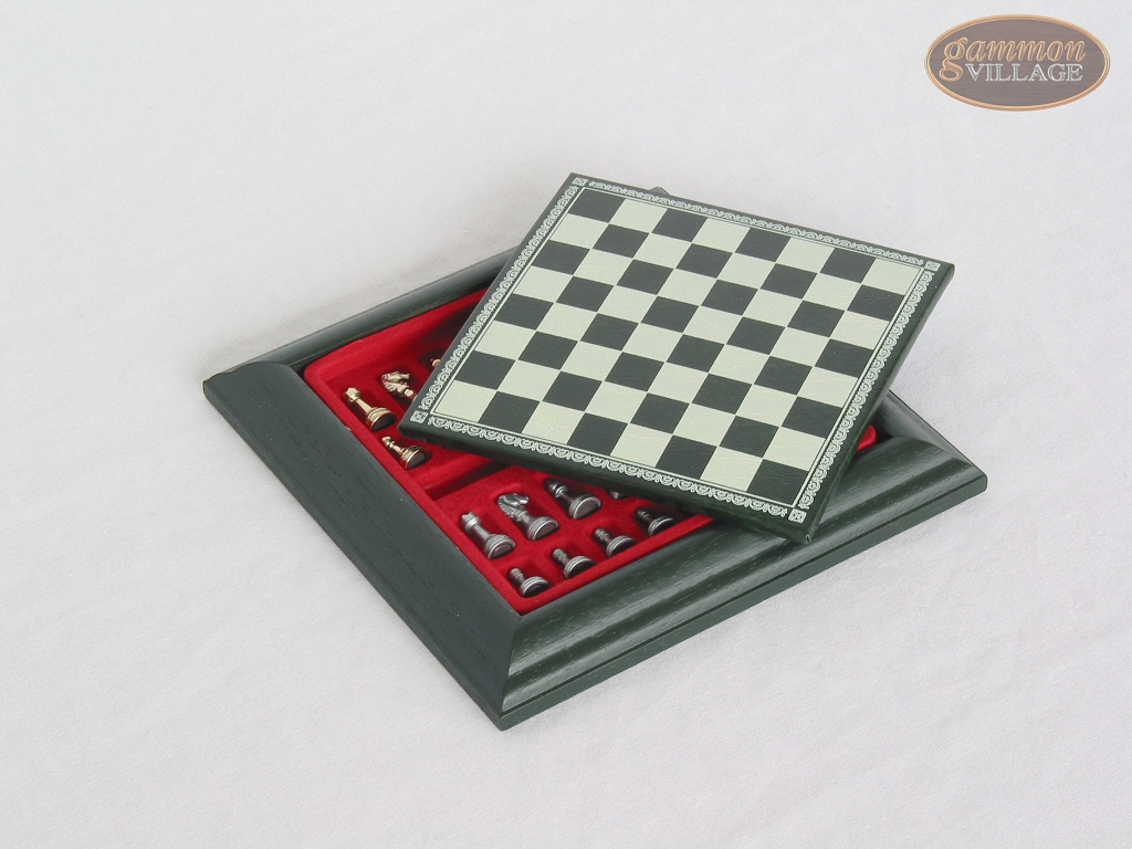 Compact Magnetic Travel Chess Set  - Green