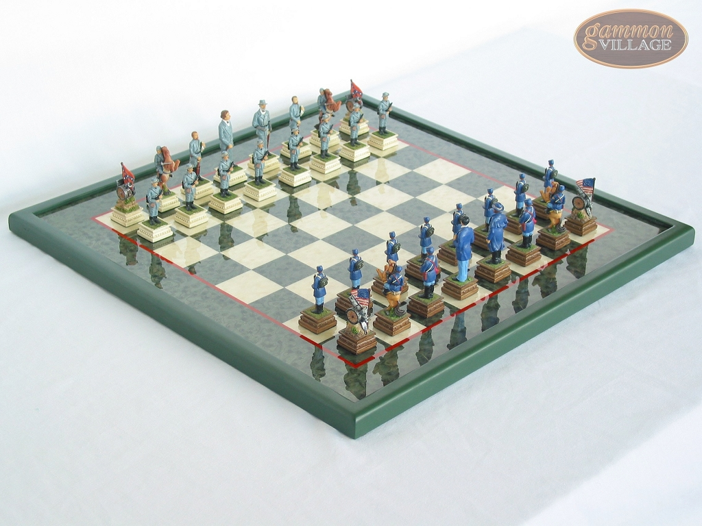 American Civil War Chessmen with Italian Lacquered Board [Green]