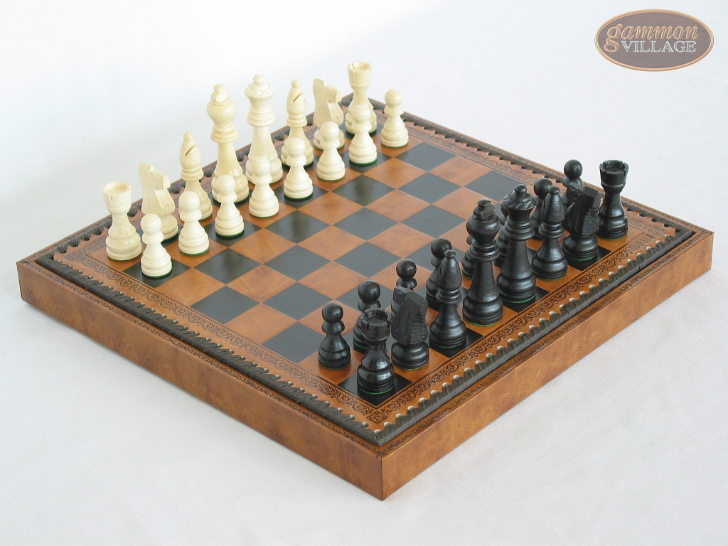 Contemporary Staunton Chessmen with Patterned Italian Leatherette Board with Storage [Brown]