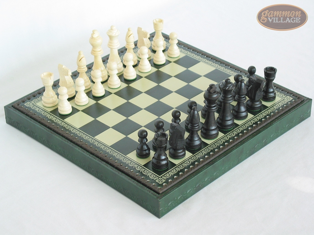 Contemporary Staunton Chessmen with Patterned Italian Leatherette Chess Board with Storage [Green]