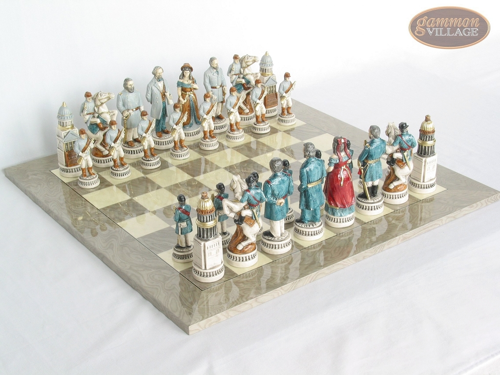 Confederate vs. Union Chessmen with Large Spanish Lacquered Chess Board [Grey]