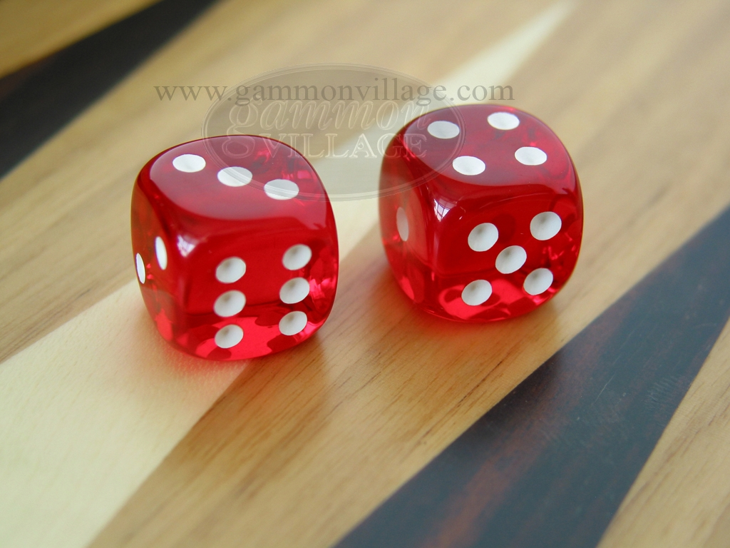 3/8 in. Rounded High Gloss Lucent Dice - Red (1 pair)