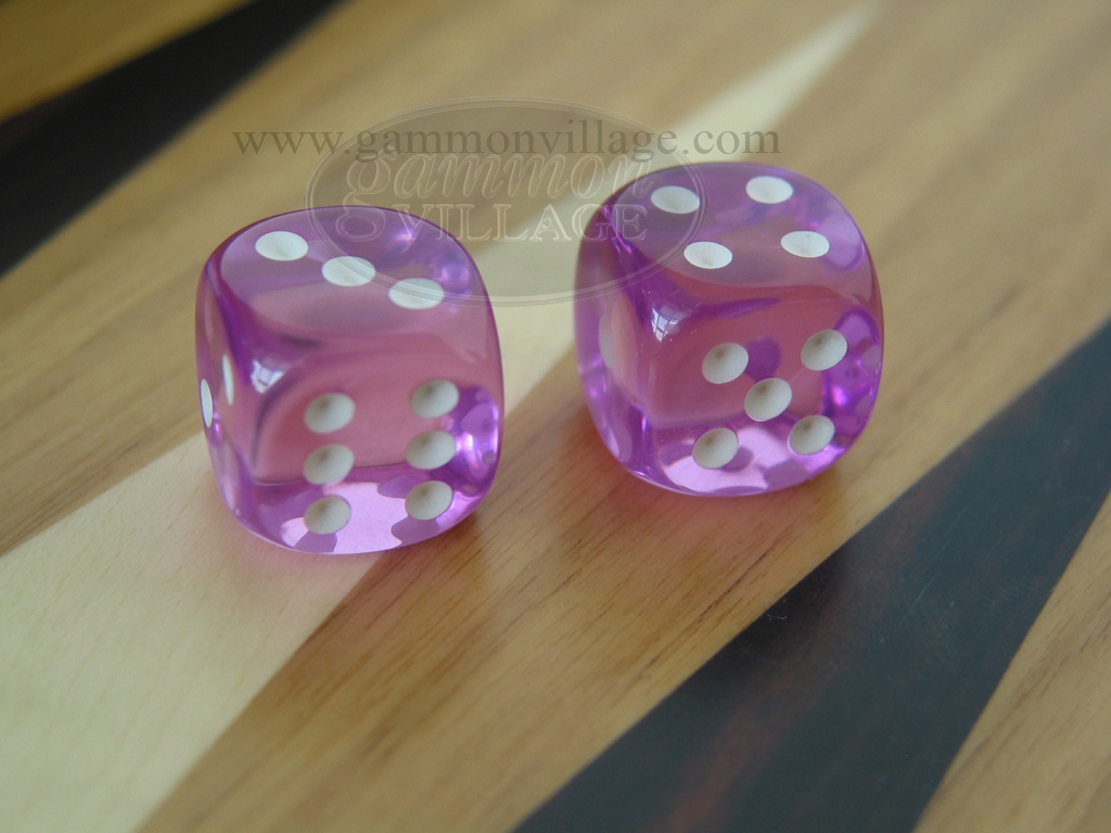 5/8 in. Rounded High Gloss Lucent Dice - Purple (1 pair)