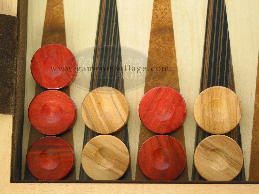 Backgammon Checkers - Olive Wood - Red (1 in. Dia.) - Set of 30