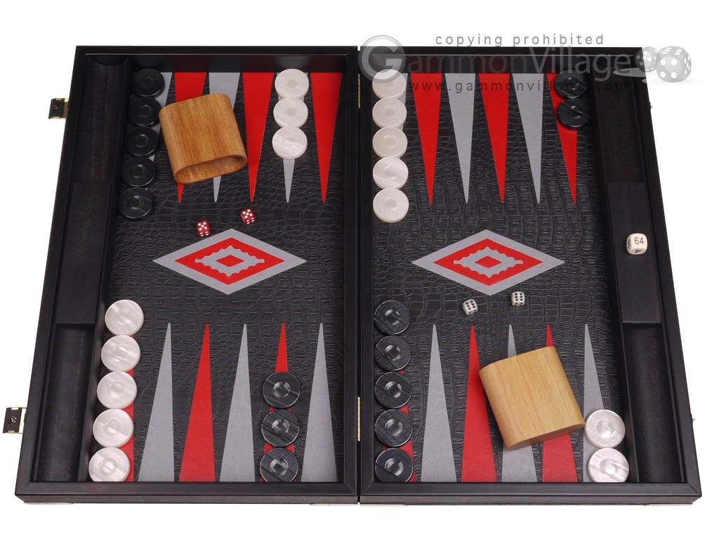 Leatherette Backgammon Set - Large - Black Croco Field