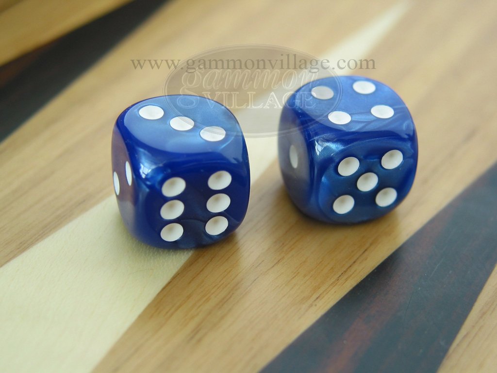 1/2 in. Rounded High Gloss Flecked Dice - Blue (1 pair)