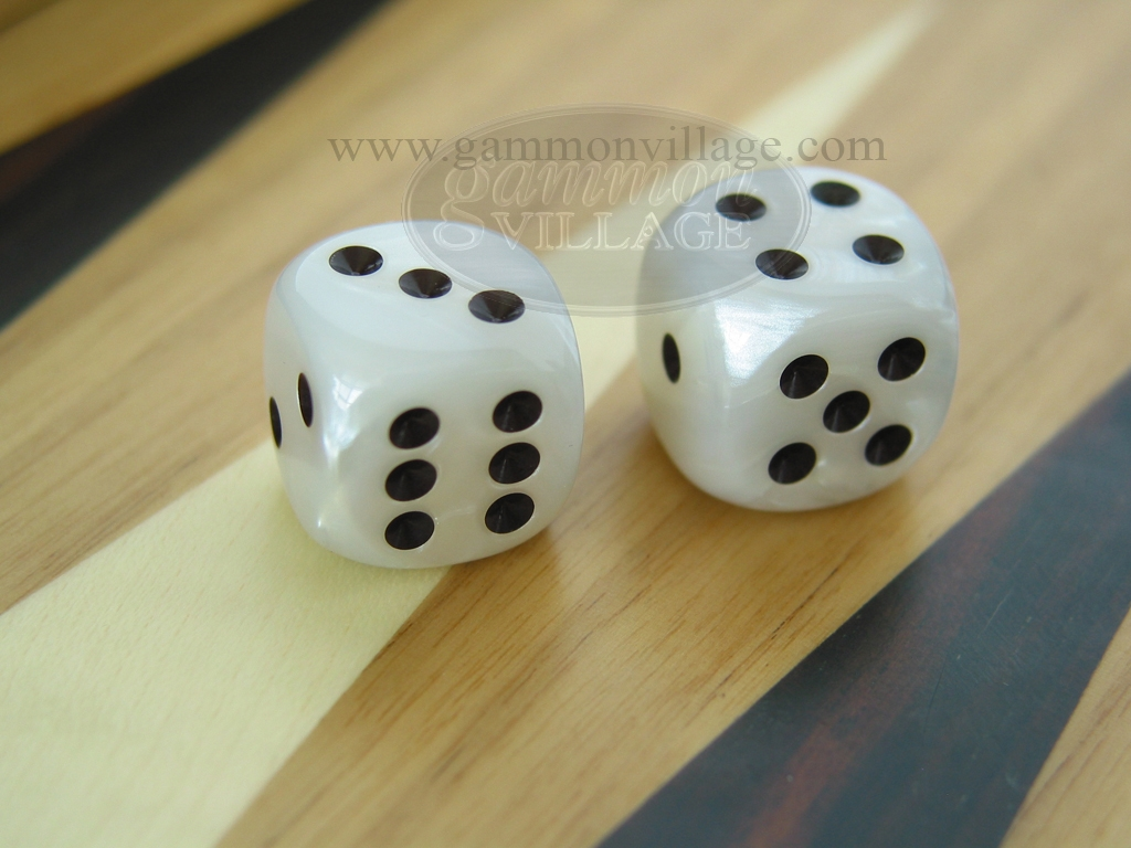 5/8 in. Rounded High Gloss Flecked Dice - White (1 pair)