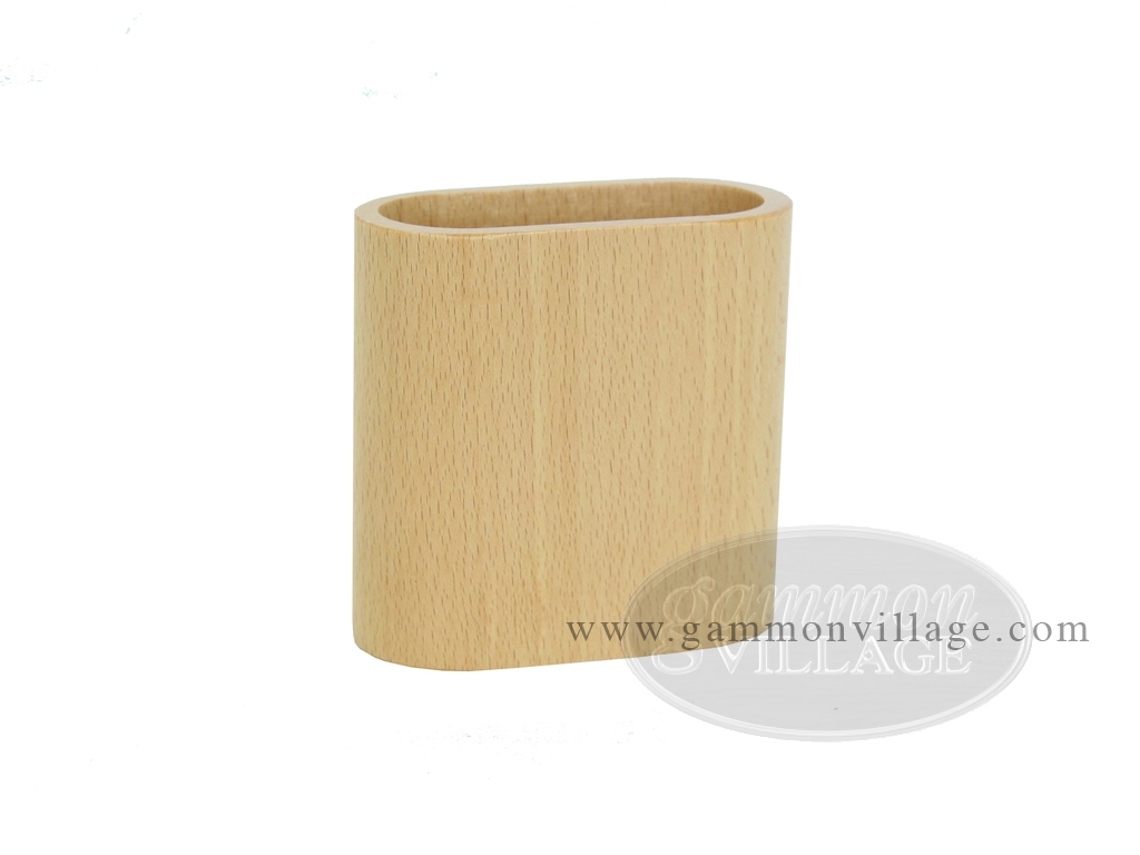 Wood Backgammon Dice Cup - Oval - Beechwood - Pair in polybag