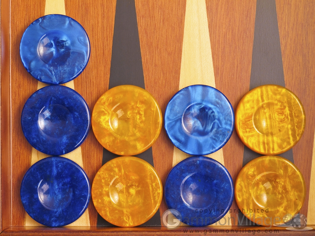 Backgammon Checkers - High Gloss Acrylic - Blue & Yellow (1 1/2in. Dia.) - Set of 30