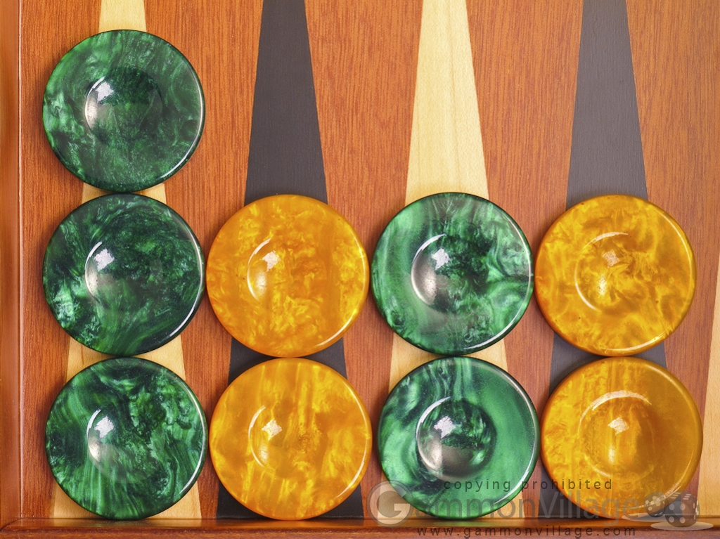 Backgammon Checkers - High Gloss Acrylic - Green & Yellow (1 1/2in. Dia.) - Set of 30
