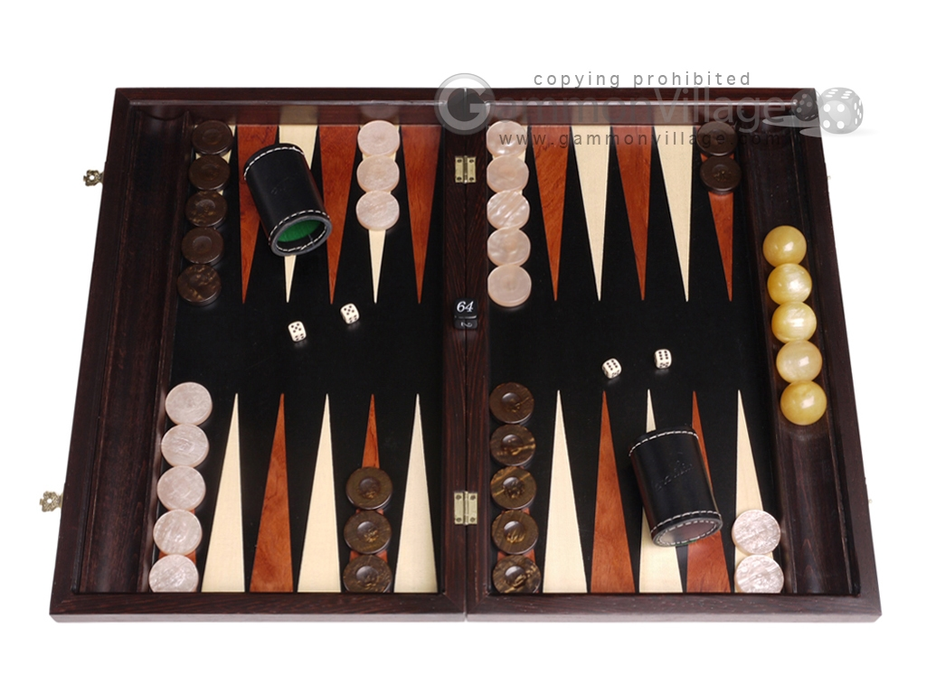 Palisander Backgammon Set with Racks - Beveled Edge