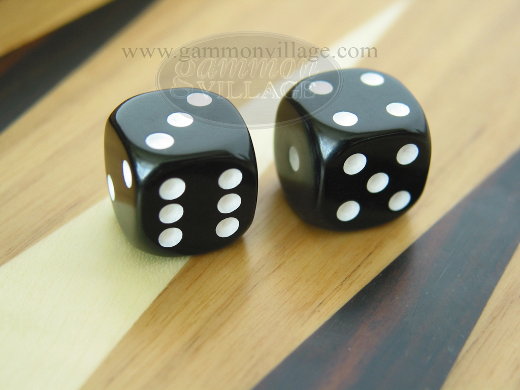 1-1/4 in. Rounded Solid Dice - Black (1 pair)