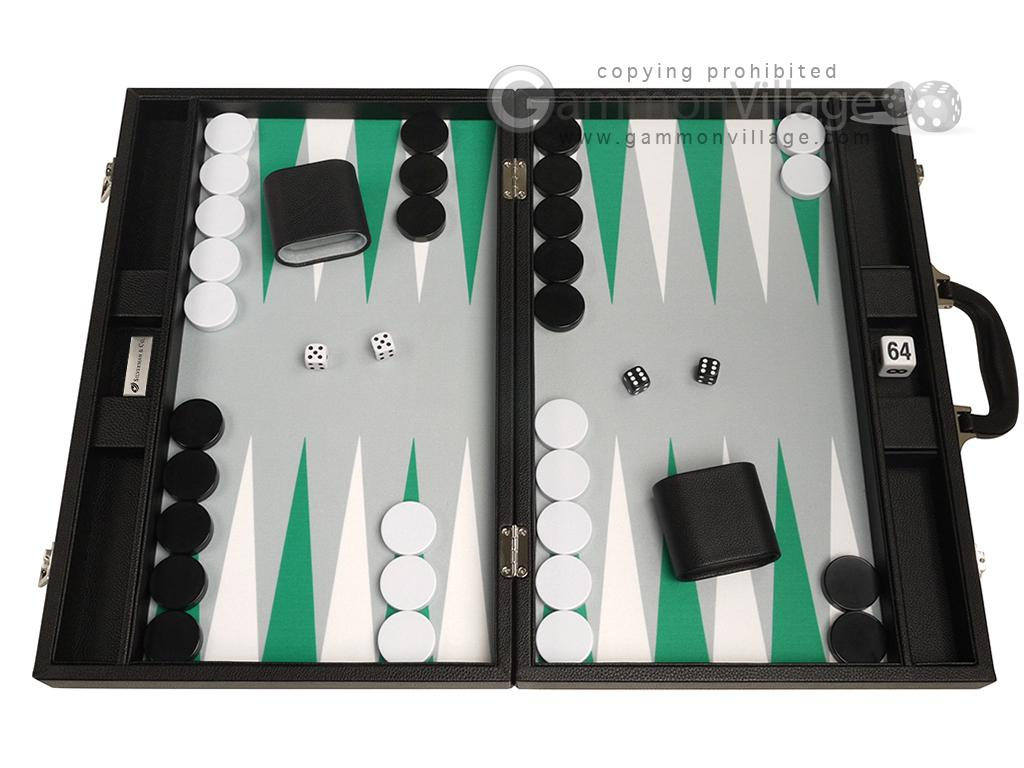 19-inch Premium Backgammon Set - Black with White and Green Points