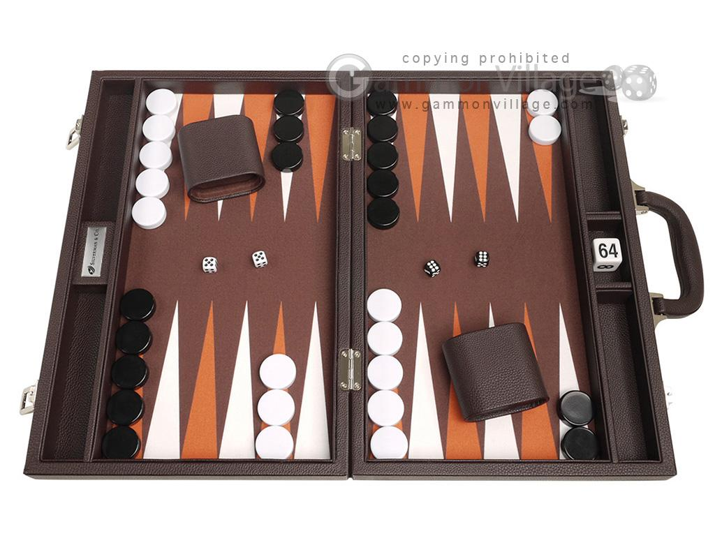 16-inch Premium Backgammon Set - Dark Brown