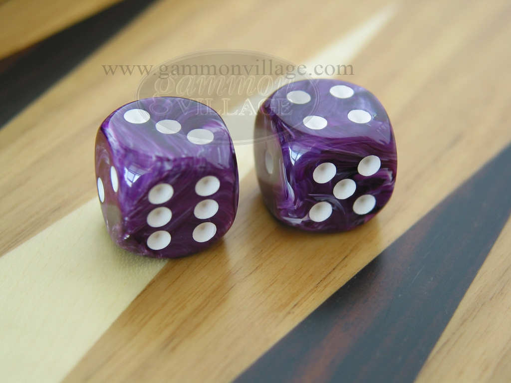 1/2 in. Rounded High Gloss Swoosh Dice - Purple (1 pair)