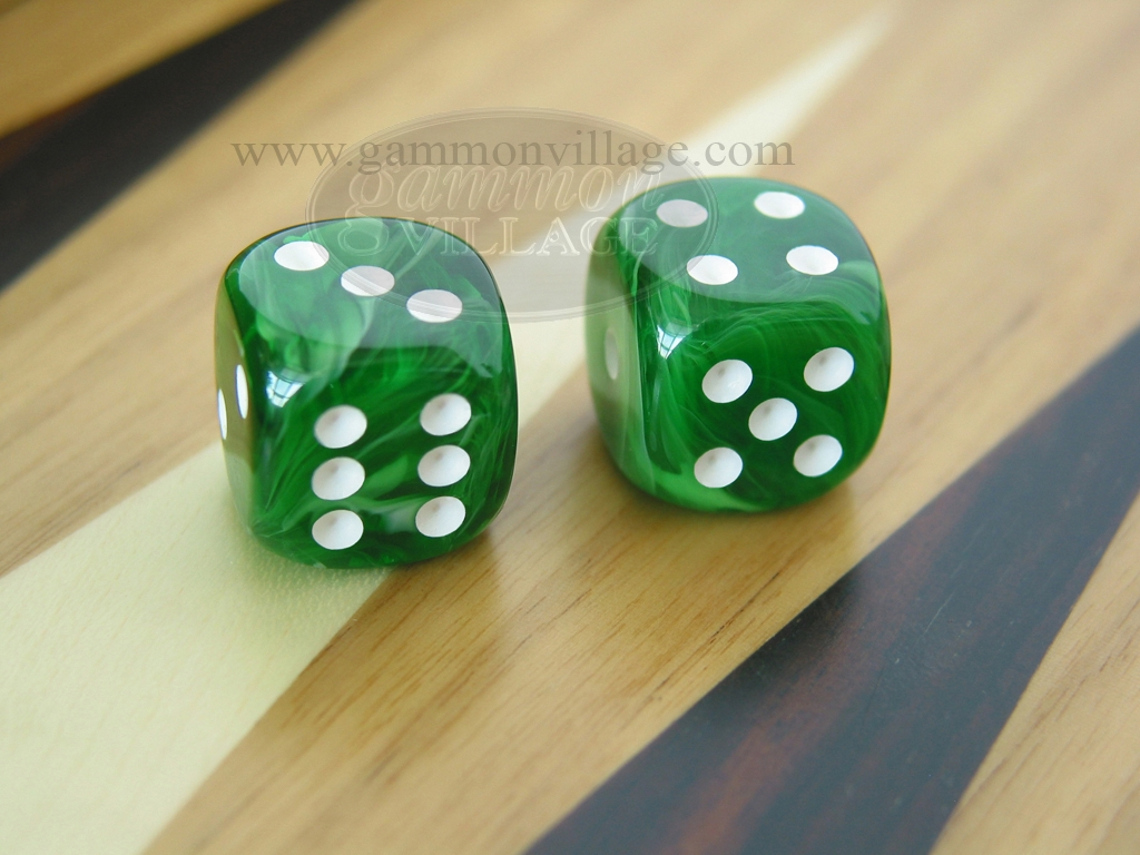 1/2 in. Rounded High Gloss Swoosh Dice - Arctic Green (1 pair)
