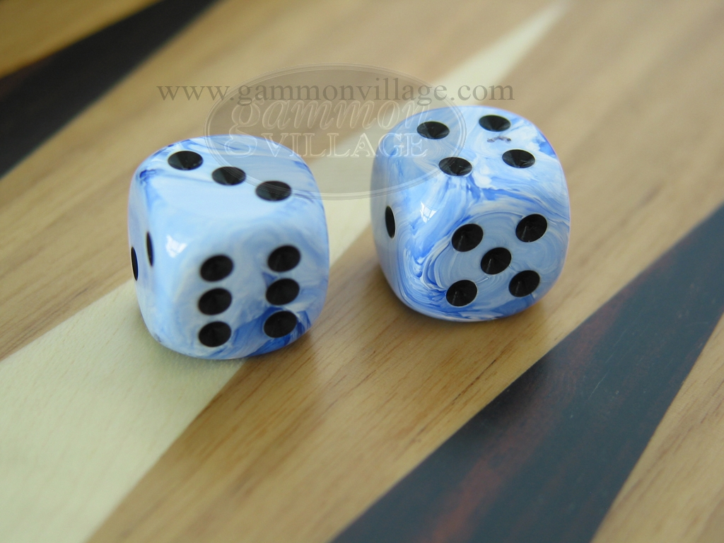1/2 in. Rounded High Gloss Swoosh Dice - Blue (1 pair)