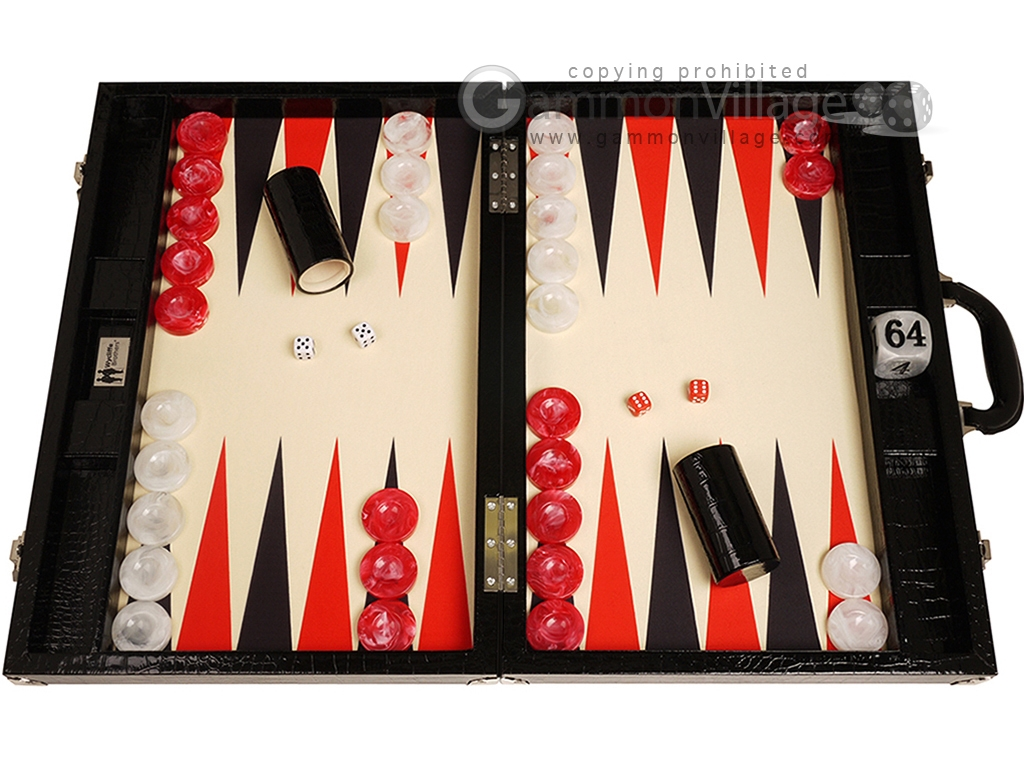 Wycliffe Brothers® Tournament Backgammon Set - Black Croco with Cream Field - Gen III