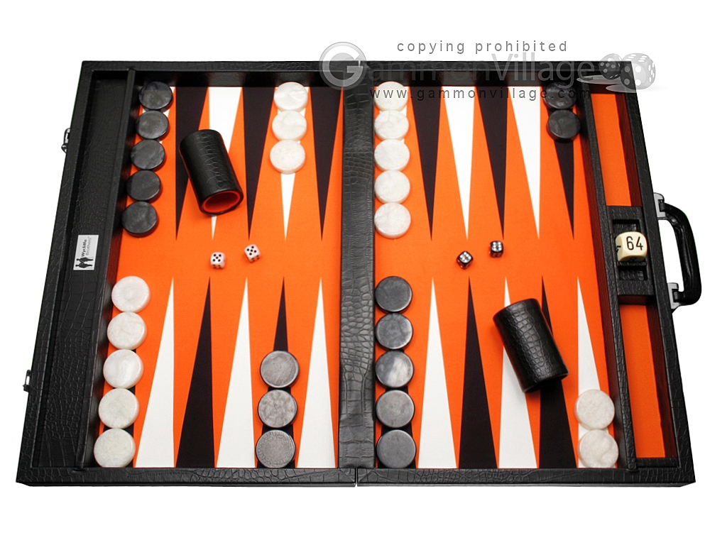 Wycliffe Brothers Tournament Backgammon Set - Black Croco