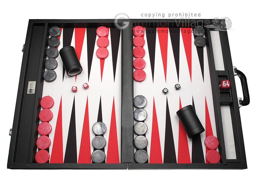 Wycliffe Brothers® Tournament Backgammon Set - Black with Grey Field - Gen I