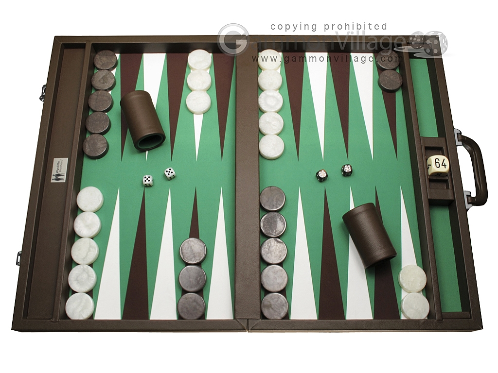 Wycliffe Brothers Tournament Backgammon Set - Brown-Green