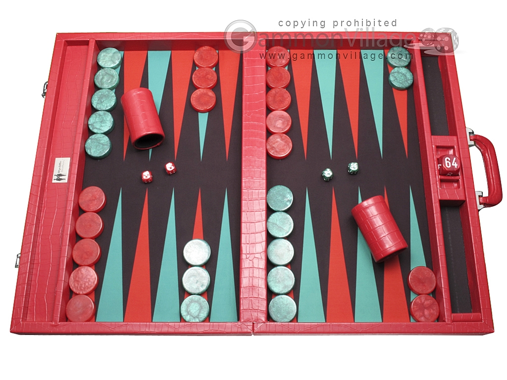 Wycliffe Brothers® Tournament Backgammon Set - Red Croco with Black Field - Gen I