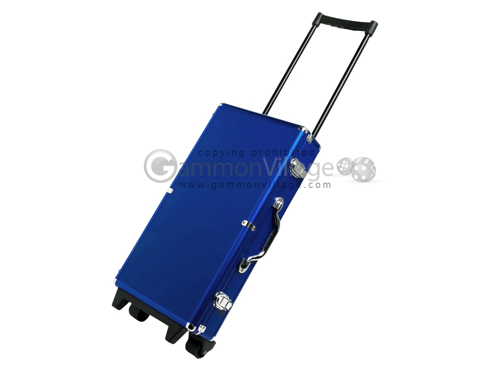 Large Empty Wheeled Rounded Aluminum Mah Jong Case - Blue