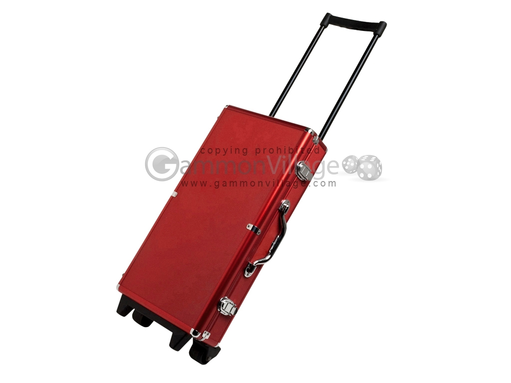 Large Empty Wheeled Rounded Aluminum Mah Jong Case - Red