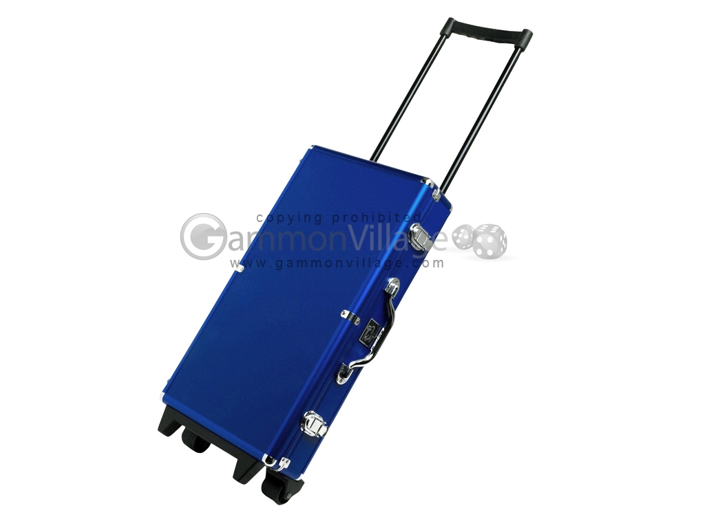 White Swan Mah Jongg™ - White Tiles - Modern Pusher Arms - Wheeled Aluminum Case - Blue