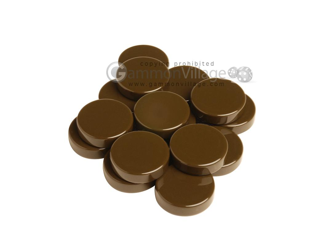 Backgammon Checkers - High Gloss Melamine - Chocolate (1 3/16 in. Dia.) - Roll of 15
